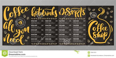 coffee shop menu templates coffee shop menu template stock illustration image 70941810
