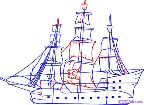 pirate boat drawing easy drawn sailing ship easy pencil and in color drawn