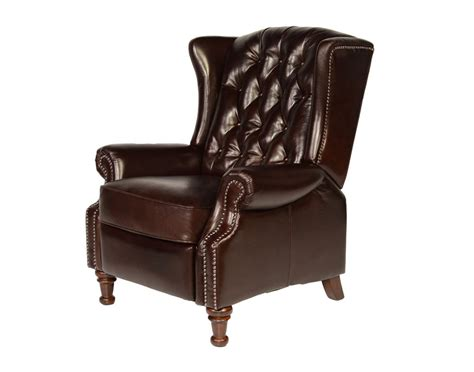 wing recliner vintage cranberry leather tufted wing back recliner