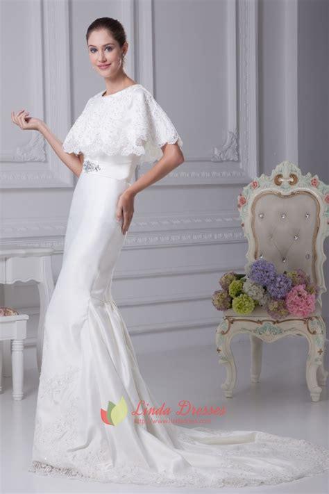 white satin mermaid wedding dress simple elegant satin