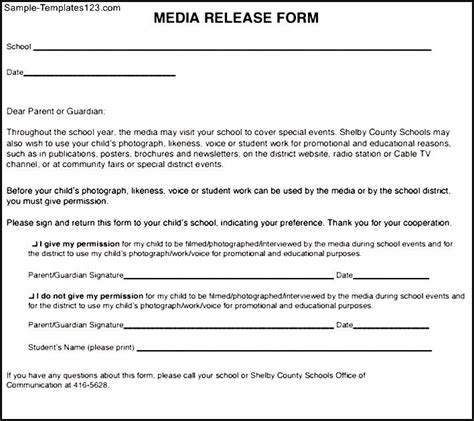 media release form templates fillable printable samples for