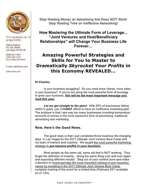 Offer Letter For Joint Venture The Ultimate Joint Venture Boot C Cd Sales Letter 2 11 11