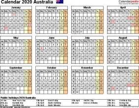 2020 Year Calendar Australia Calendar 2020 Free Printable Excel Templates