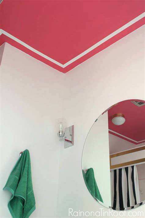ceiling paint that goes on pink a pink ceiling with faux white moldings