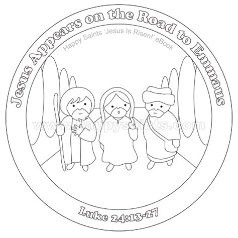 coloring page of jesus on the road to emmaus happy saints road to emmaus