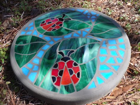 Handmade Stepping Stones - ladybug friends handmade stained glass and concrete mosaic