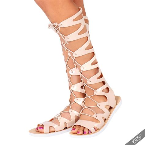 knee high lace up sandals boho knee high strappy gladiator sandals lace up