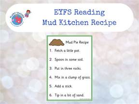mud kitchen recipe eyfs reading activity phase four