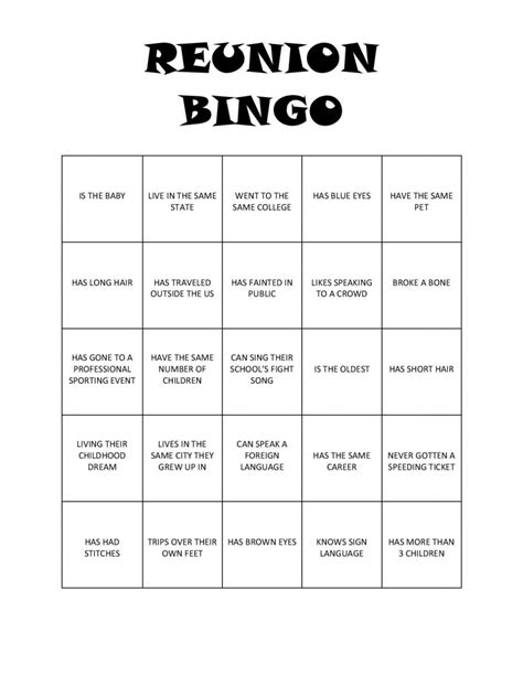 Reunion Bingo Free Printable Family Card Template 2
