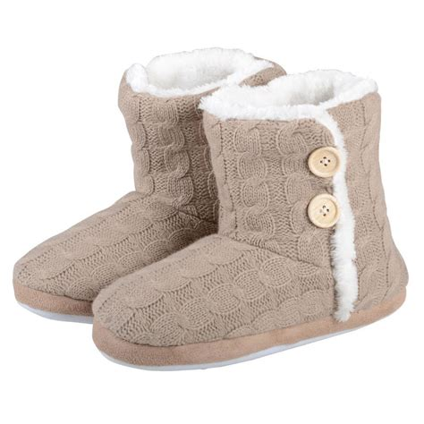 knit bootie slippers cable knit bootie slipper with non slip soles