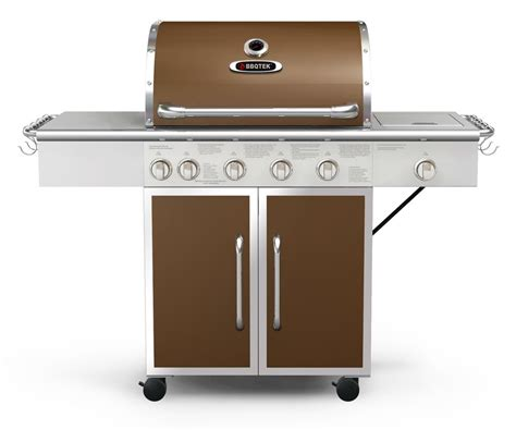 bbqtek 6 burner lp gas bbq with rotisserie searing and