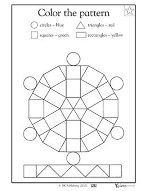 geometric pattern worksheets color the pattern kindergarten math skills worksheet free