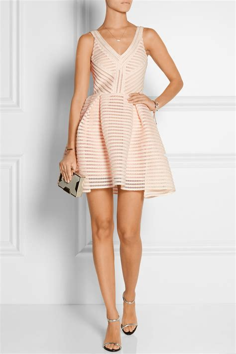 Maje Dress maje rayure mesh striped jersey mini dress in pink lyst