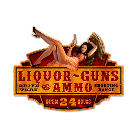 liquor signs liquor guns ammo vintage metal sign