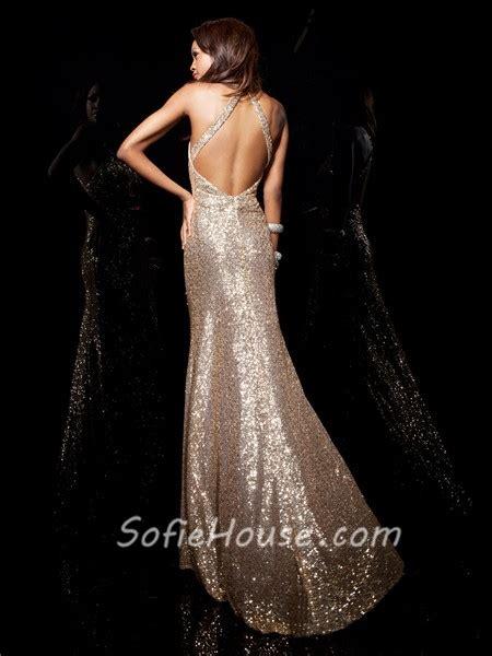 designer sheath halter chagne gold sequined prom dress open back straps