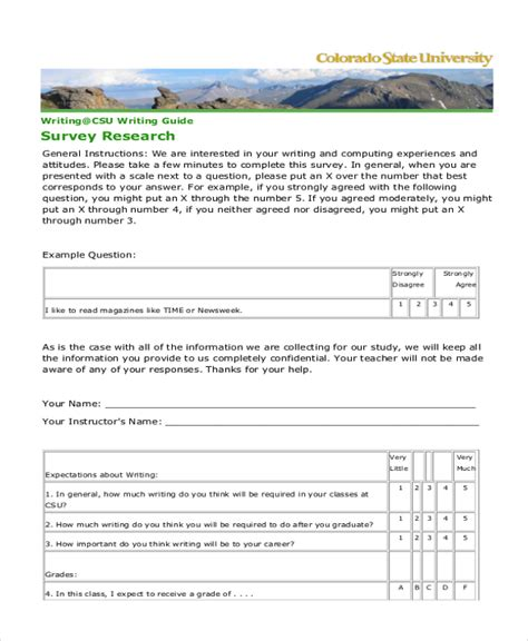 research survey template sle survey form exle 9 free documents in doc pdf