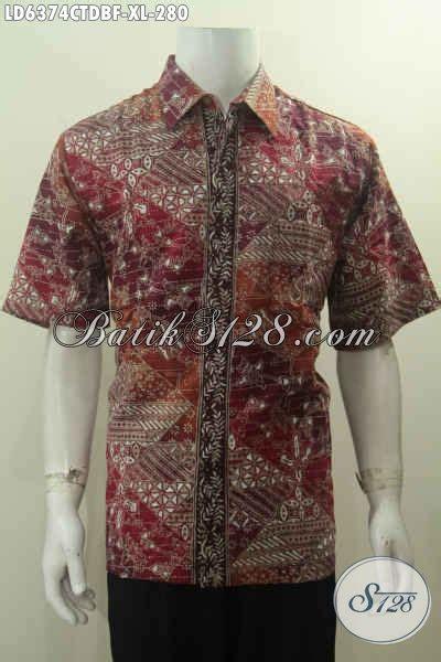 Kemeja Batik Pria Hem Pendek Sws Komb Merah Hati Marun Tanpa Furing baju kemeja batik lengan pendek keren hem batik merah bahan kain dolby kwalitas istimewa model