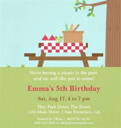15 picnic invitations psd vector eps