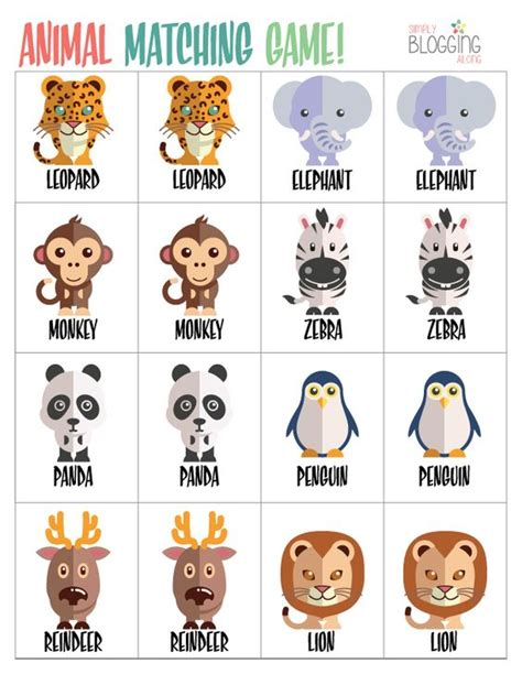 printable memory games preschool zoo activities animal match game printable