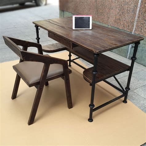 industrial style desks vintage american country home bedroom study desk wood wrought iron pipe industrial style desk