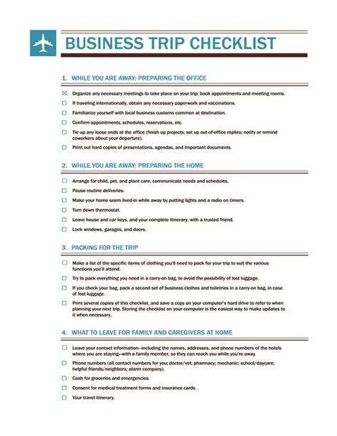 business plan checklist template business trip checklist office templates