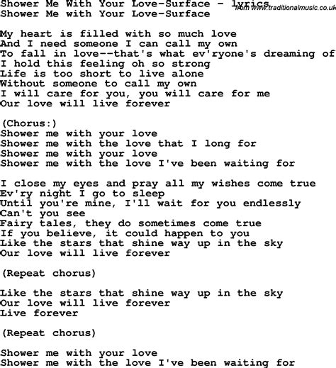 with lyrics song lyrics for shower me with your surface