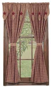 Primitive Country Curtains Barn Layered Window 63 Quot Panels Primitive Country Curtain Burgundy