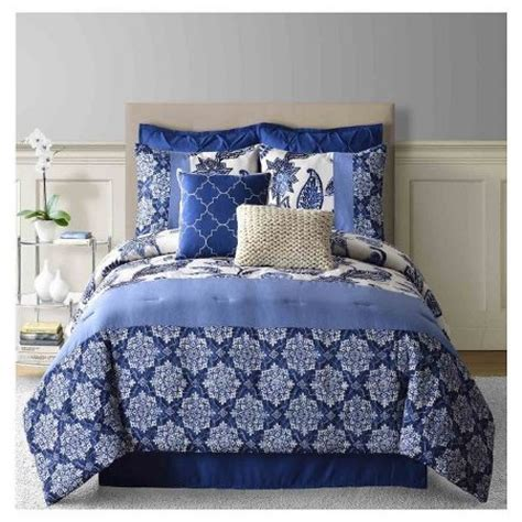 navy paisley bedding paisley faux linen comforter set 8 piece navy target
