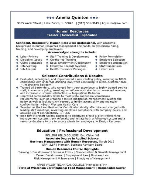 Human Resources Resume by Sle Human Resources Resume Sle Resumes