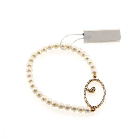 lettere per bracciali bracciale marcello pane iniziale o argento e perle