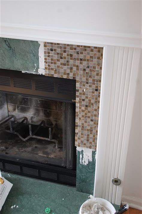 diy fireplace surround glass tile woodworking projects
