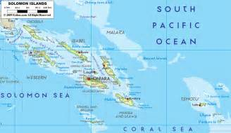 large detailed physical map of solomon islands with all
