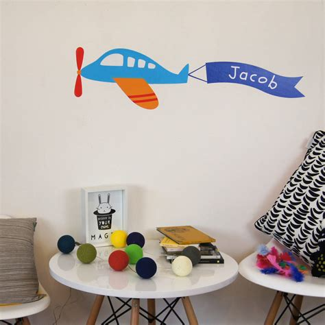 childrens personalised wall stickers personalised childrens plane wall stickers by parkins