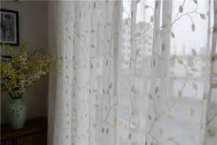 Country embroidered leaves white sheer curtain customized curtains