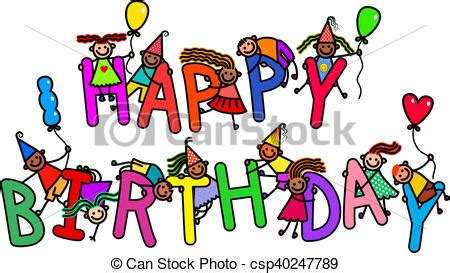 clipart compleanno bambini buon compleanno bambini gruppo parole alfabeto sopra