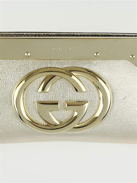 Kourtney Gucci Starlight Evening Bag by Gucci Gold Leather Interlocking G Starlight Frame Clutch