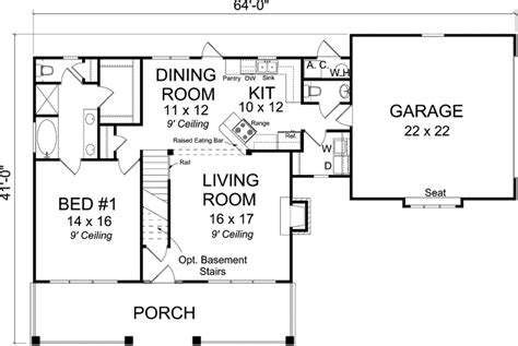 375 square feet bungalow house plan 3 bedrooms 2 bath 1675 sq ft plan