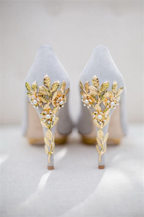 White And Gold Wedding Shoes by Wedding Shoes Tulle Chantilly Wedding