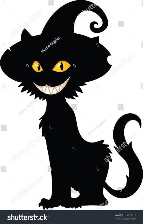 halloween witch cat silhouette vector illustration stock