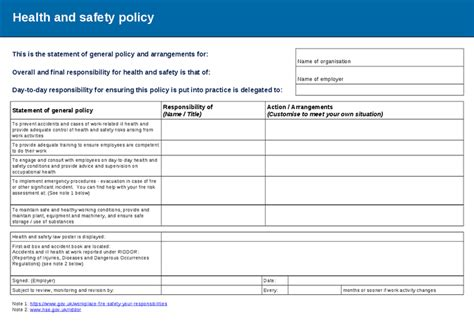 hse template risk assessment and policy template hashdoc