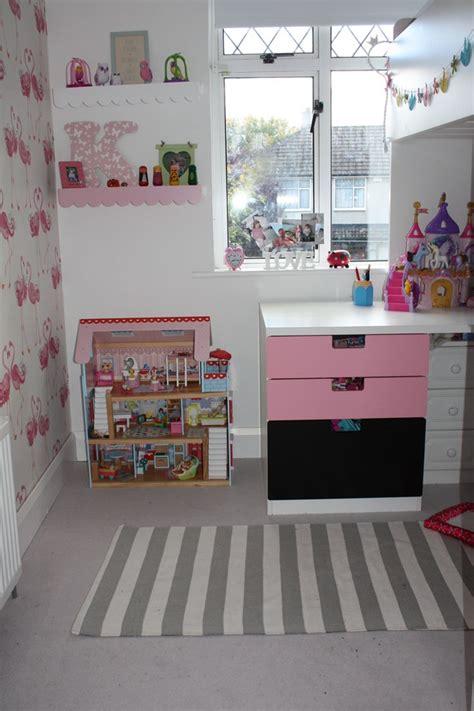 flamingo wallpaper laura ashley katies room transformation ikea stuva loft bed laura
