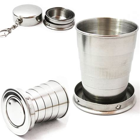 Cup Mini 75 Cc 75ml mini stainless steel portable travel foldable collapsible cup telescopic cups equipment 4