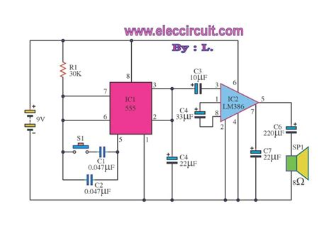 integrated circuit frequency generator electronic components noise generator 2 frequency with ic 555