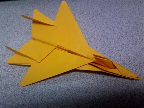 Origami Fighter Plane - gold origami f15 fighter jet by theorigamiarchitect on