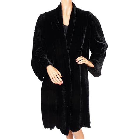 velvet swing coat vintage 1930s black velvet swing coat by sally milgrim
