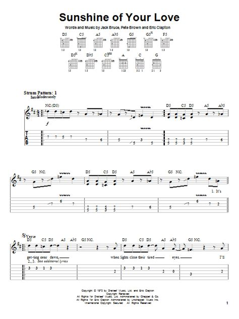 guitar tutorial your love sunshine of your love by cream easy guitar tab guitar