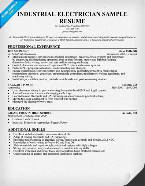 Resume Sle For Electrical Helper Industrial Electrician Resume Sle Resume Ideas
