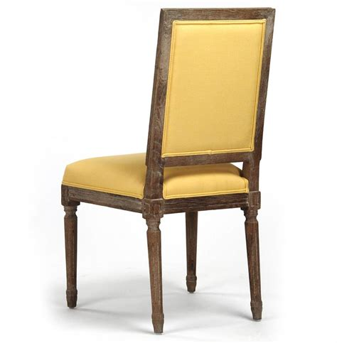 Yellow Tufted Chair by Pair Louis Xvi Yellow Tufted Linen Dining Side Chair