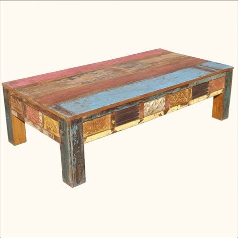 Old Reclaimed Wood Rustic Hand Carved Distressed Painted Painted Wood Coffee Table