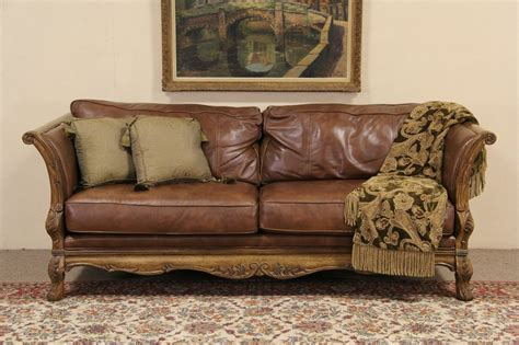 SOLD   Bernhardt Country French Leather & Carved Fruitwood